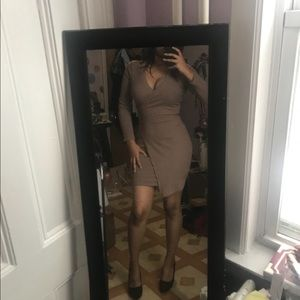 Taupe Assymetrical Bodycon Dress